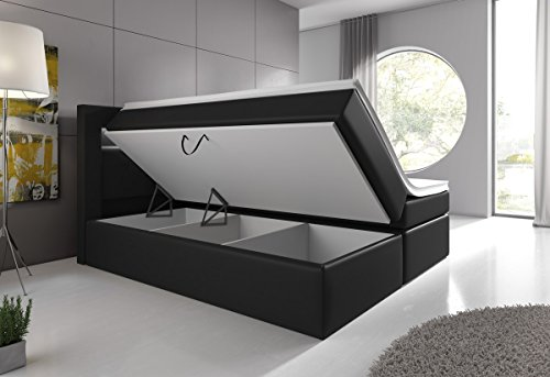 boxspringbett 180x200 grau mit bettkasten led kopflicht hotelbett venedig lift. Black Bedroom Furniture Sets. Home Design Ideas