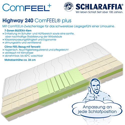 Schlaraffia Highway 240 ComFEEL 7-Zonen Kaltschaum-Matratze H3 (100 x 200cm)