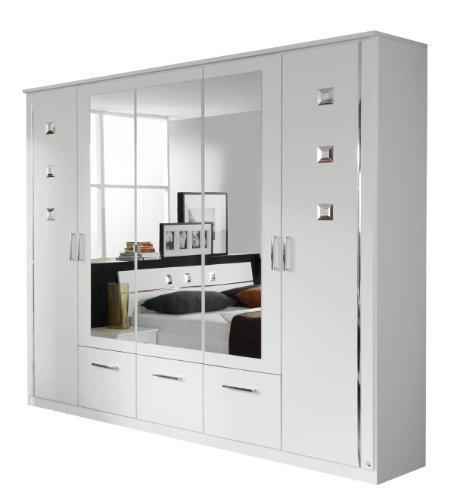 Rauch Kleiderschrank mit Spiegel Weiß mit Strass -Applikationen und Schubladen, BxHxT 226x212x56 cm