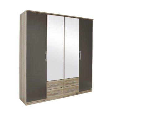 rauch kleiderschrank mit spiegel und schubladen 4 t rig eiche san remo hell absetzungen. Black Bedroom Furniture Sets. Home Design Ideas