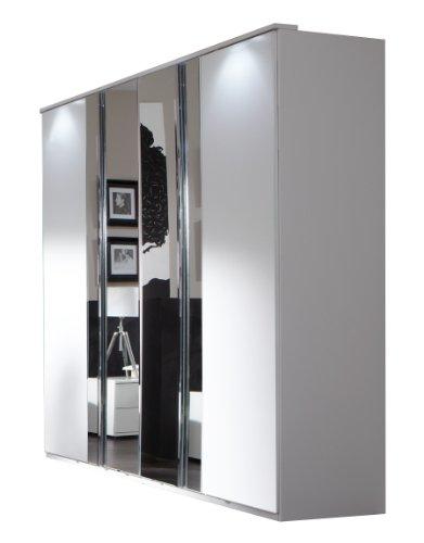 Wimex 734568 Kleiderschrank 180 x 210 x 58 cm mit 2 Spiegeltüren, Front und Korpus alpinweiß / Aufleistungen chrom glänzend