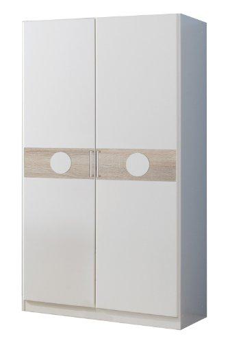 Wimex 310180 Kleiderschrank 90 x 175 x 58 cm, alpinweiß, Absetzung Eiche Sägerau-Nachbildung