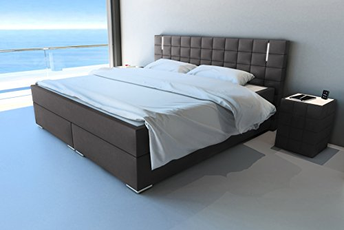 sam led boxspringbett 200 200 cm berlin stoff anthrazit. Black Bedroom Furniture Sets. Home Design Ideas