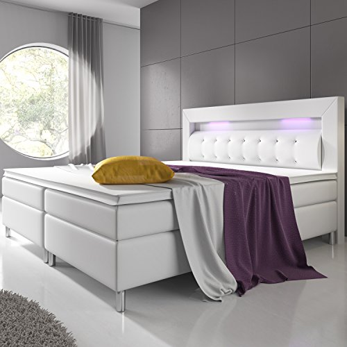 boxspringbett montana 140 x 200 cm wei mit federkern matratze und topper. Black Bedroom Furniture Sets. Home Design Ideas