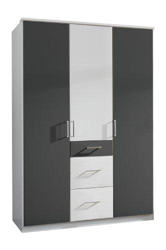 Wimex 147625 Kleiderschrank, 135 x 199 x 58 cm 3-türig mit zwei großen und einen kleinen Schubkasten, Front und Korpus alpinweiß/ Absetzungen anthrazit