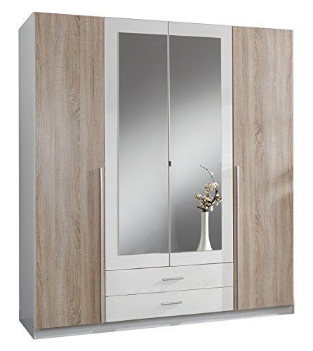 Wimex 119453 Kleiderschrank, 4-türig mit zwei Schubkästen und zwei Spiegeltüren, Front Korpus Außentüren Eiche Sägerau Nachbildung, 180 x 198 x 58 cm
