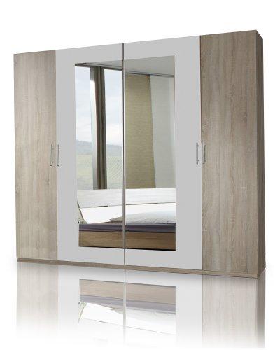Wimex 785750 Kleiderschrank 4-türig 225 x 210 x 58 cm, zwei Spiegeltüren, Front und Korpus Eiche Sägerau Nachbildung, Absetzungen, alpinweiß