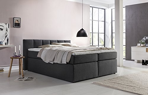 boxspringbett valina anthrazit 180x200cm h2 inkl visco topper 7 zonen taschenfederkern. Black Bedroom Furniture Sets. Home Design Ideas
