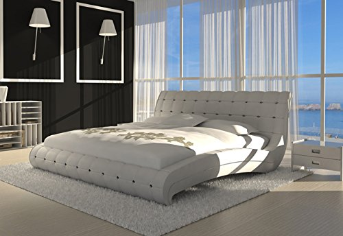 sam polsterbett bett vederi in wei 200 x 200 cm kopfteil im abgesteppten modernen design. Black Bedroom Furniture Sets. Home Design Ideas