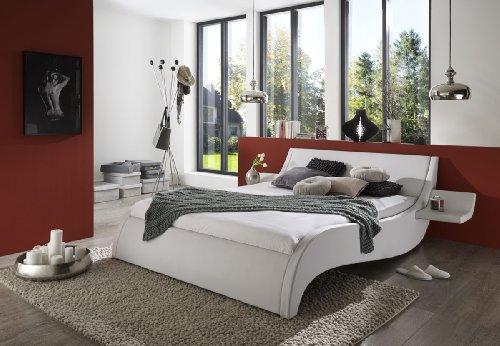 SAM® Polsterbett Murcia in weiß 180 x 200 cm inklusive 2 Nachttischablagen