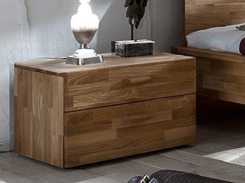SAM® Nachtkommode Cubi 1 aus massiver, brauner Wildeiche, Nako mit ausreichend Verstaumöglichkeiten, Nachttisch im modernen Design