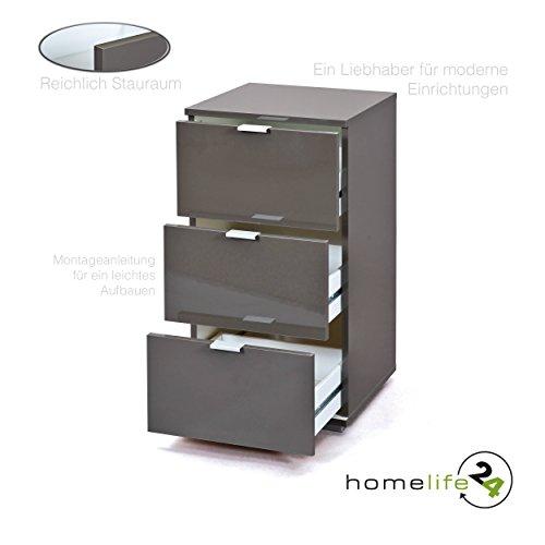 Nachttisch Nachtschrank Nacht-kommode Ablagetisch mit drei Schubladen in Lava Hochglanz schlicht funktionell modern mit Metallauszüge