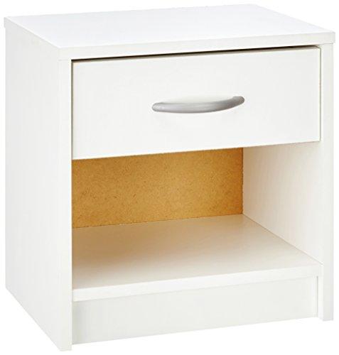 Demeyere 305895 Nachttisch, 1 Schublade, 1 Regal, perle weiß