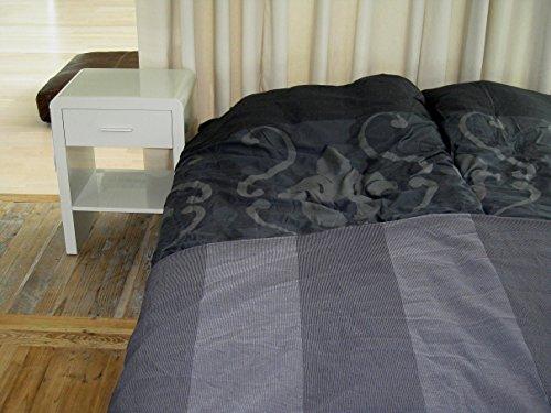 Design Nachttisch Boxspringbett Nachtkommode SN-3 Hellgrau Hochglanz