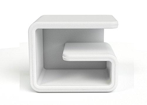 SAM® Nachtkommode NaKo Konsole weiß rechts aus SAM®-Lederimitat, großzügiger Stauraum, futuristisches Design [521544]