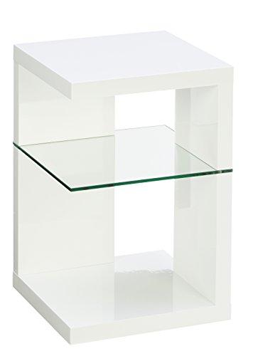 Beistelltisch / Nachttisch Domingo, 40x60x40cm, weiß Hochglanz
