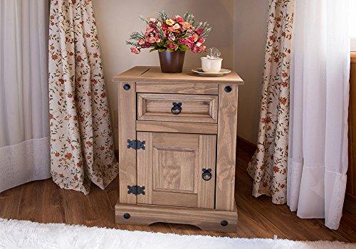 SAM® Nachttisch Santa Fe, Mexico-Möbel, Nachtkommode aus Kiefernholz, Massivholz gewachst, je ein Schubfach & Tür, Hacienda-Stil