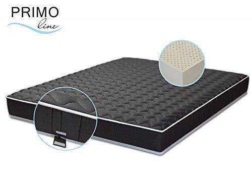 Primo Line Latexmatratze Black Label - 7 Zonen orthopädische Matratze 140x200 H3 Höhe 20cm RG 70 (bis 125 kg) - Designer Doppeltuch-Bezug waschbar schwarz - ÖKO TEX® zertifiziert
