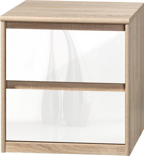 CS Schmalmöbel 75.185.051/01 Grifflose Boxspring Nachtkommode Soft Plus Smart Typ 01, 45 x 55 x 58 cm, eiche/weiß hochglanz