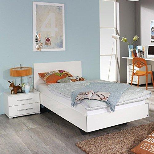 Jugendbett inkl. 1 Nachtkommode 140*200 cm weiß Hochglanz Jugendliege Kinderbett Bettliege Bettgestell Bett Kinderzimmer Jugendzimmer