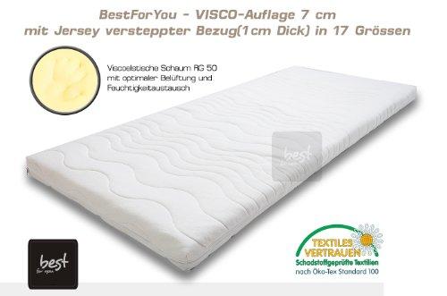 Best For You Topper Visco Viscoelastische Auflage Kern 7 cm. + versteppter Bezug! Vielen Größen zur Auswahl 60x120 cm - 200x200 cm