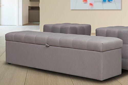 Bettbank VAG 165x40x40 für das Boxspringbett Welcon Rockstar in schwarz, grau, hellgrau, dunkelgrau, braun, beige, weiß, rot, blau, etc., Truhe / Sitzbank für das Schlafzimmer aufklappbar mit Stauraum