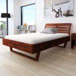 Festnight Holzbett Doppelbett Bett Bettgestell Gästebett aus Akazienholz ohne Matratze 140 x 200 cm