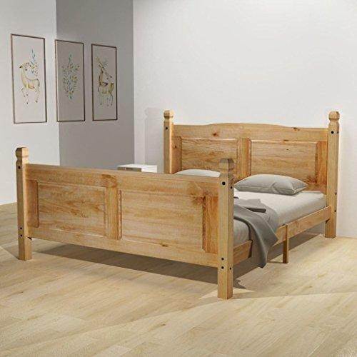 Festnight Holzbett Doppelbett Bett Bettgestell Gästebett aus Holz mit Matratze 160 x 200 cm