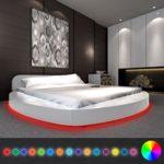 Festnight Polsterbett Bett Doppelbett Ehebett aus Kunstleder mit LED und Matratze 180 x 200 cm Rund Weiß