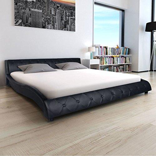 Festnight Polsterbett Bett Doppelbett Ehebett aus Kunstleder mit Matratze 180 x 200 cm Schwarz