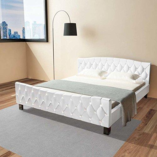 Festnight Polsterbett Bett Doppelbett Ehebett aus Kunstleder mit Matratze 180x200cm Weiß