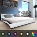 Festnight Polsterbett Bett Doppelbett Ehebett mit LED und Matratze 180x200 cm Kunstleder