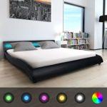 Festnight Polsterbett Bett Doppelbett Ehebett mit LED und Matratze 180x200 cm Kunstleder Schwarz