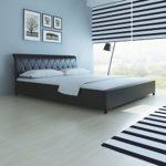 Festnight Polsterbett Bett Doppelbett Ehebett ohne Matratze 180x200 cm Kunstleder Schwarz