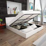 Festnight Polsterbett Doppelbett Bett Ehebett aus Kunstleder mit Bettkasten 140x200cm ohne Matratze Weiß