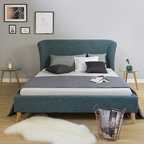 Homestyle4u 1831 Polsterbett 140 x 200 cm Doppelbett Stoffbett Bettgestell mit Rückenlehne & Lattenrost Bett Türkis Blau