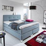 Luxus Boxspringbett ROCKSTAR 9cm Premium Topper und Design Kopfteil WELCON 140x200 64 Farben erhältlich H1, H2, H3, H4, H5 (rechts und links beliebig kombinierbar) Bett Doppelbett Polsterbett