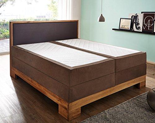 SAM® Design Boxspringbett Sirin, Box mit Holzrahmen und Bonellfederkern, durchgehende 7 Zonen Taschenfederkernmatratze, optimale Einstiegshöhe, Kopfteil aus braunem Kunstleder, 140 x 200 cm