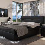 SAM® Design Boxspringbett mit Samolux®-Bezug in schwarz, LED-Beleuchtung an Füßen & Kopfteil, Bonellfederkern-Matratze, Box mit Holzrahmen und Nosag-Unterfederung, 180 x 200 cm
