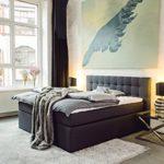 King Boxspringbett 180x200 cm mit Luxus 7-Zonen Taschenfederkernmatratze Visco-Topper in H3 Anthrazit Hotelbett Doppelbett Polsterbett von Betten Jumbo
