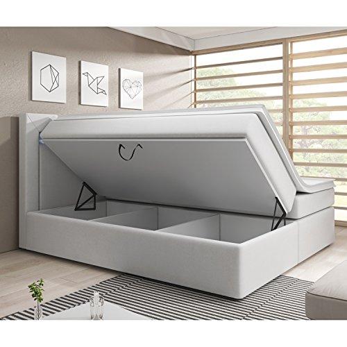 Boxspringbett New Jersey mit Bettkasten 180 x 200 cm - weiß