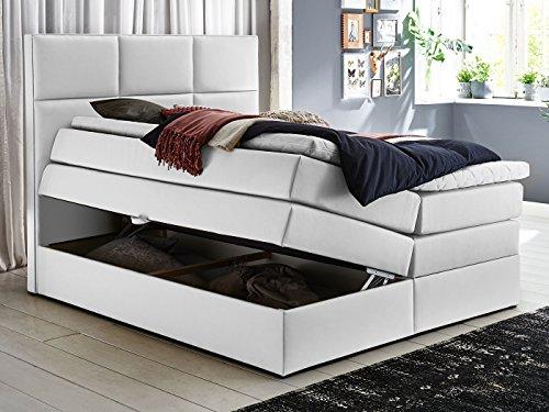 boxspringbett york mit bettkasten stauraum wei kunsleder kaltschaum topper h3 taschenfederkern. Black Bedroom Furniture Sets. Home Design Ideas