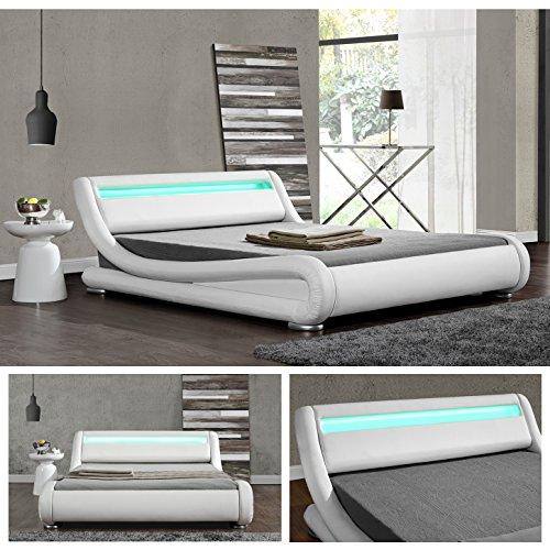 DIABLO Weiss LED Doppelbett Polsterbett Bettgestell Bett Lattenrost Kunstleder