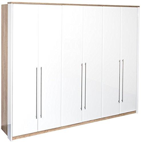 Drehtürenschrank / Kleiderschrank Lepa 28, Farbe: Eiche Braun / Weiß Hochglanz - Abmessungen: 225 x 278 x 58 cm (H x B x T)