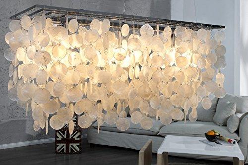 DuNord Design Hängelampe Hängeleuchte PERLMUTT 80 cm x 30 cm