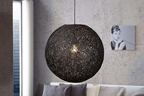 DuNord Design Hängelampe Hängeleuchte Pendelleuchte BOZZOLO schwarz 35cm Hanf Geflecht Kugel