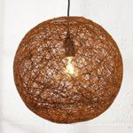 DuNord Design Hängelampe Kugellampe Pendellampe BOZZOLO braun 45cm Hanf Geflecht Kugel