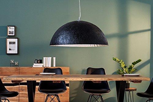 DuNord Design Hängelampe schwarz silber Hängeleuchte Pendellampe BOWL 70cm Antik Look Edel