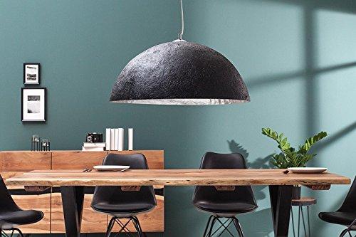 DuNord Design Hängelampe schwarz silber Hängeleuchte Pendellampe BOWL silber 50cm Antik Look Edel