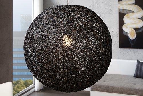 DuNord Design Hängeleuchte Bozzolo XL Hängelampe schwarz Manila Hanf 60 cm